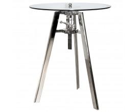 Štýlový nastaviteľný príručný stolík Rendy s chrómovým povrchom a kruhovou sklenenou doskou 74cm