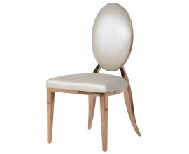 Art-deco luxusná stolička Pearl White s kovovou konštrukciou