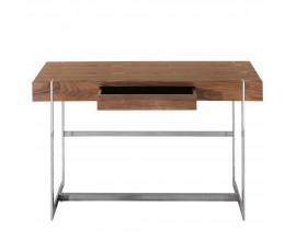 Dizajnový konzolový stolík Horton II v geometrickom tvare s dreveným povrchom a úložným priestorom doplnený kovovými nohami