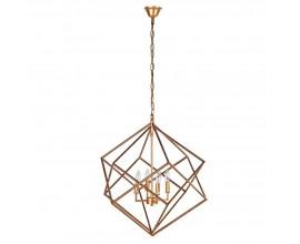 Luxusný Art-deco zlatý závesný luster Trifle s kovovým tienidlom v geometrickom tvare 68cm