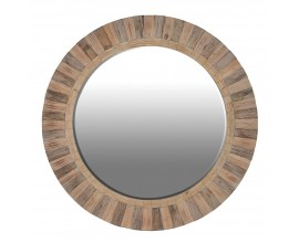 Vidiecke kruhové nástenné zrkadlo Warren s dreveným rámom 162cm