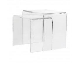 Moderný set minimalistických priehľadných príručných stolíkov Concord 50cm