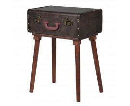 Koloniálny príručný stolík Maleta v podobe cestovateľského kufra na podstave 48cm