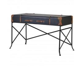 Jedinečný pracovný stôl Geleo s koženým efektom a kovovou konštrukciou 122cm