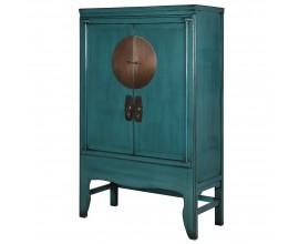 Vintage luxusná skriňa Verda v akvamarínovej farbe