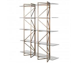 Dizajnový art-deco regál Memphis zo skla s kovovou konštrukciou 183cm
