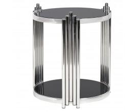 Art-deco kruhový príručný stolík Decorio s chrómovými lesklými nohami a doskou zo skla 52cm