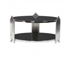 Art-deco konferenčný stolík Decorio Low s kruhovou chrómovou konštrukciou a sklenenou odkladacou doskou 92cm