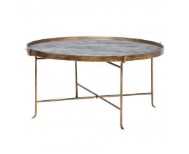 Štýlový art-deco zlatý konferenčný stolík Baltimore kruhového tvaru 98cm