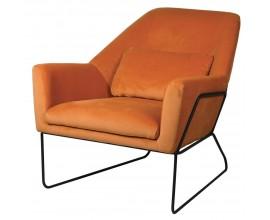 Moderné oranžové kreslo Teracot s čiernou kovovou konštrukciou 79cm
