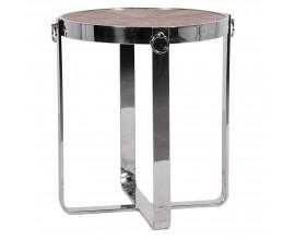 Kruhový príručný stolík Houston s chrómovými nohami 56cm