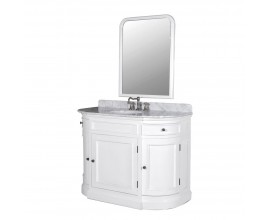 Luxusná zaoblená biela kúpeľňová zostava Vilches s umývadlom so zrkadlom 116cm