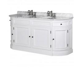 Luxusná biela kúpeľňová skrinka Vilches s dvoma umývadlami a mramorovou povrchovou doskou 171cm