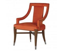 Luxusná zamatová jedálenská stolička Derva v oranžovej farbe a s nohami z dreva 92cm