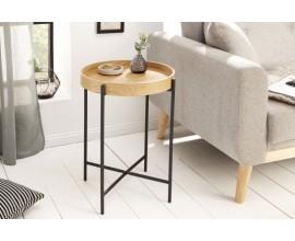 Štýlový škandinávsky príručný stolík Cleveland kruhového tvaru  z dreva a kovu v čierno-hnedom prevedení
