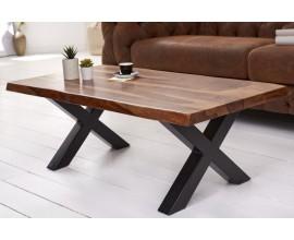 Industriálny dizajnový konferenčný stolík Sheesham  z masívneho palisandrového dreva s čiernymi kovovými nohami 110cm