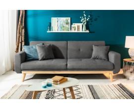 Škandinávska sivá rozkladacia sedačka Scandinavia s drevenými nohami