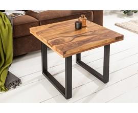 Industriálny dizajnový konferenčný stolík Steele Craft z dreva sheesham štvorcového tvaru 60cm