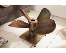 Koloniálny bronzový konferenčný stolík Helice II v tvare lodnej skrutky s okrúhlou doskou zo skla  60cm