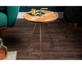 Kruhový dizajnový príručný stolík Gedling v art-deco štýle z masívneho agátového dreva so zlatými nohami a úchytom