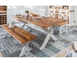 Dizajnový dlhý vidiecky jedálenský stôl Frida Blanca II 200cm z masívu