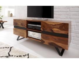 Dizajnový TV stolík Sheesham  z masívneho dreva s dvomi dvierkami a čiernymi kovovými nohami 160cm