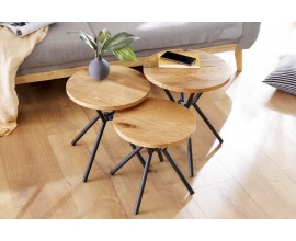 Sada dizajnových príručných stolíkov z masívu Factory svetlá hnedá 46cm