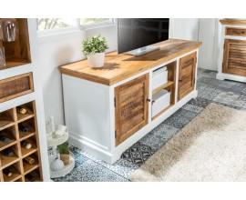 Dizajnový masívny TV stolík Frida Blanca 160cm