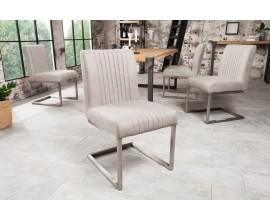 Industriálna jedálenská stolička Inspirativo 57cm so svetlosivým poťahom