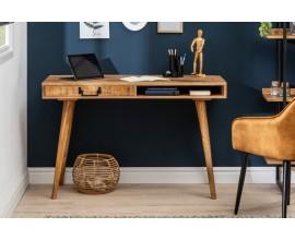 Štýlový moderný písací stolík Mango z masívneho dreva v hnedej farbe s otvorenou poličkou a zásuvkou