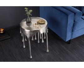 Art-deco jedinečný príručný stolík  Bellair v striebornej farbe okrúhleho tvaru 37cm
