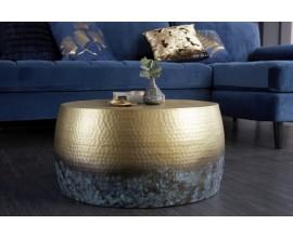 Orientálny konferenčný stolík Hammerblow Orient  kruhového tvaru v zlatej farbe 60cm
