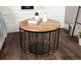 Industriálny okrúhly konferenčný stolík Storage  z mangového dreva 56cm
