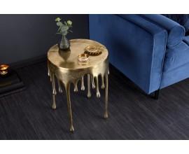 Art-deco jedinečný príručný stolík  Bellair v zlatej farbe s kruhovou podstavou 37cm