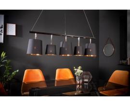 Dizajnové závesné svietidlo so zlato-čiernymi nastaviteľnými tienidlami na striebornej konštrukcii Levels zlatá čierna 104cm