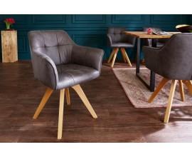 Moderná dizajnová stolička Hendry  v antickej šedej farbe s podrúčkami 84cm