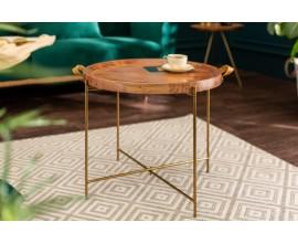 Moderný zlatý kruhový príručný stolík Marrakesch I s odnímateľnou Akáciovou doskou 55cm