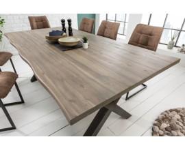 Dizajnový šedý jedálenský stôl Forest sivý II 200cm v industriálnom štýle