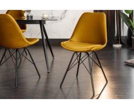 Retro jedálenská stolička Scandinavia v žltom poťahu s čiernou kovovou konštrukciou 86cm