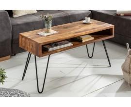 Industriálny dizajnový konferenčný stolík Sheesham z masívneho palisandrového dreva s úložným priestorom 100cm