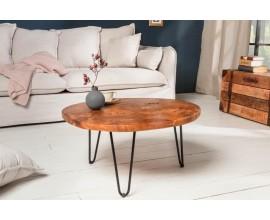 Industriálny okrúhly konferenčný stolík Murrieta 70cm z teakového dreva