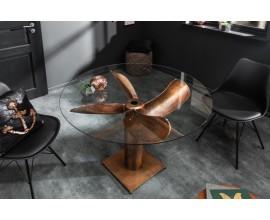 Industriálny bronzový jedálenský stôl Helice v tvare lodnej skrutky s okrúhlou doskou zo skla 94cm