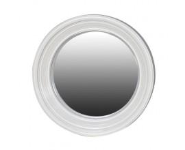 Provensálske nástenné zrkadlo Many s bielym širokým kruhovým rámom