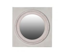 Vintage nástenné kruhové zrkadlo Halien v štvorcovom ráme v odtieňoch bielej 75cm