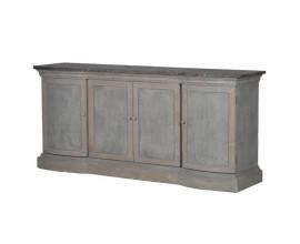 Vintage široká komoda s dvierkami Freola so šedo modrým ošúchaným dreveným povrchom a doskou z kameňa 202cm