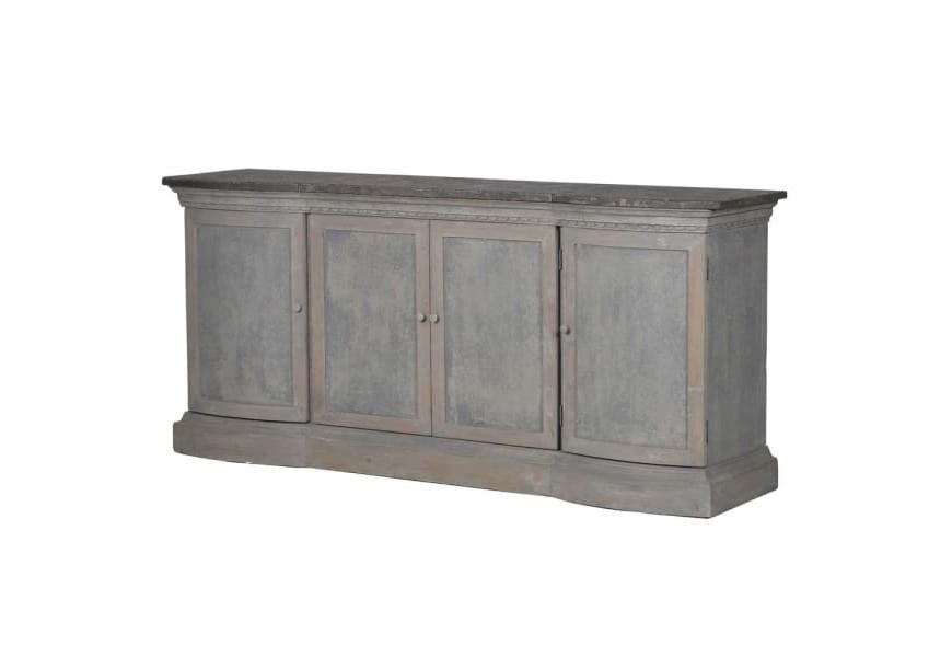 Vintage dlhá skrinka s dvierkami Freola zo sivomodrého ošúchaného dreva a kamennej dosky