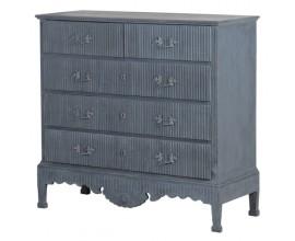 Vidiecka luxusná komoda Dolores z masívneho dreva s piatimi zásuvkami v sivej farbe 112cm
