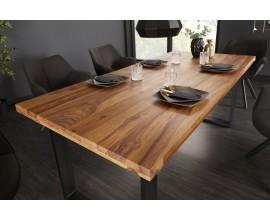 Dizajnový jedálenský stôl Steele Craft v industriálnom štýle z masívneho palisandrového dreva s čiernymi kovovými nohami