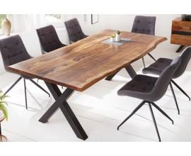 Dizajnový industriálny jedálenský stôl Sheesham z masívu a s kovovými čiernymi nohami 220cm