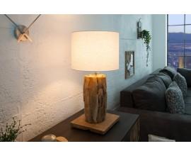 Koloniálna drevená stolná lampa Pole II s polohovateľným ľanovým tienidlom v naturálnej bielej farbe 59-70cm